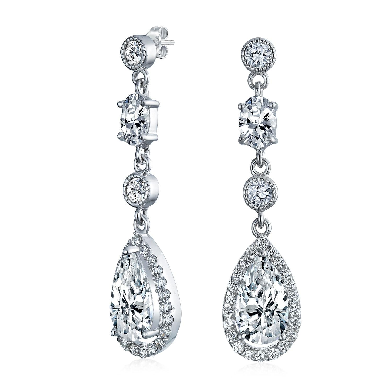 76ec9e18aaf862 Shop Cubic Zirconia Cz Teardrop Long Dangle Chandelier Prom Pageant  Statement Earrings For Women 925 Sterling Silver - Free Shipping On Orders  Over $45 ...