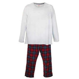 Hanes Mens Big   Tall Long Sleeve Crew Shirt and Micro Fleece Pajama Pants Set
