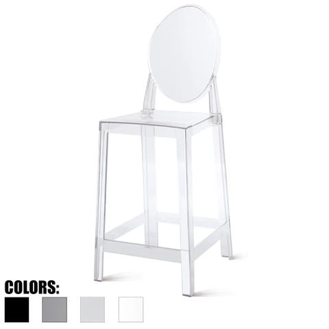 """2xhome - Clear 25"""" Seat Height With Back Modern Plastic Side Bar Counter Stool Accent Armless Crystal Home Office"""