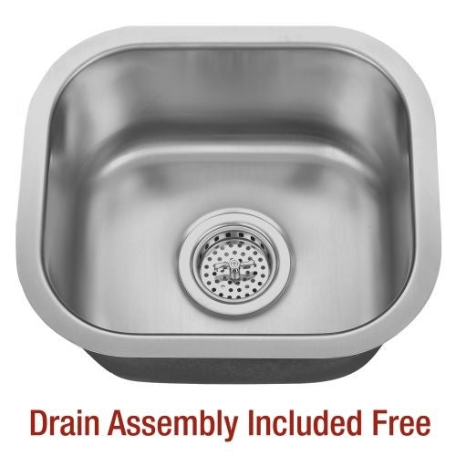 """Miseno MSS1513C 14-5/8"""" Undermount Single Basin Stainless Steel Bar / Prep Sink - Drain Assembly Included"""