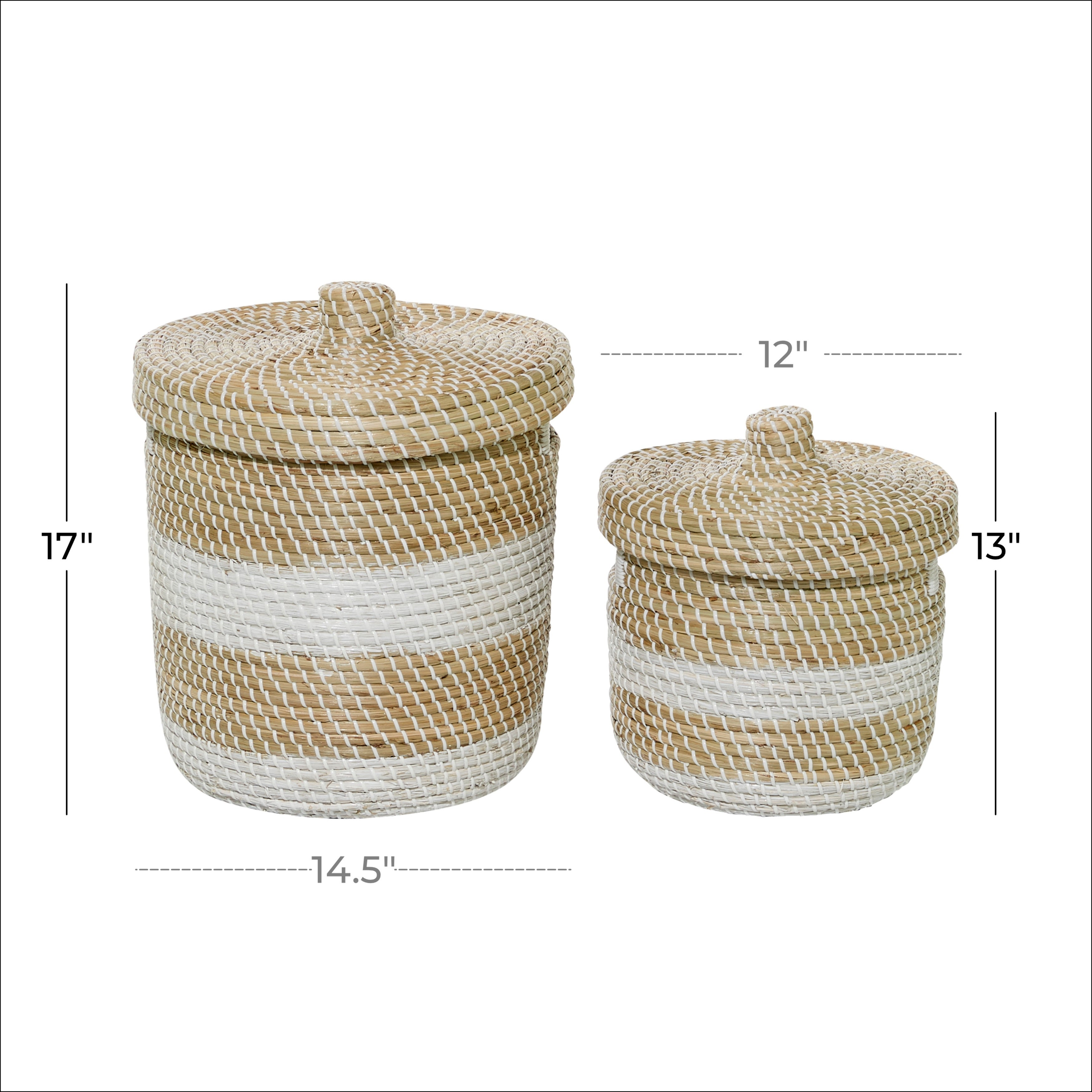 Woven Striped Round Seagrass Basket With Lid Set Of 2 13 17 15 X 15 X 17round Overstock 32123649
