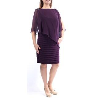 Womens Purple Sleeveless Knee Length Sheath Party Dress Size: 14W
