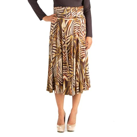24seven Comfort Apparel Womens Animal Print Belted Midi Skirt