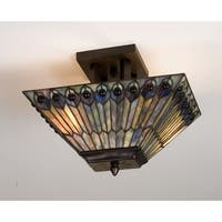 Meyda Tiffany 31191 Stained Glass / Tiffany Semi-Flush Ceiling Fixture from the Jeweled Peacock Collection