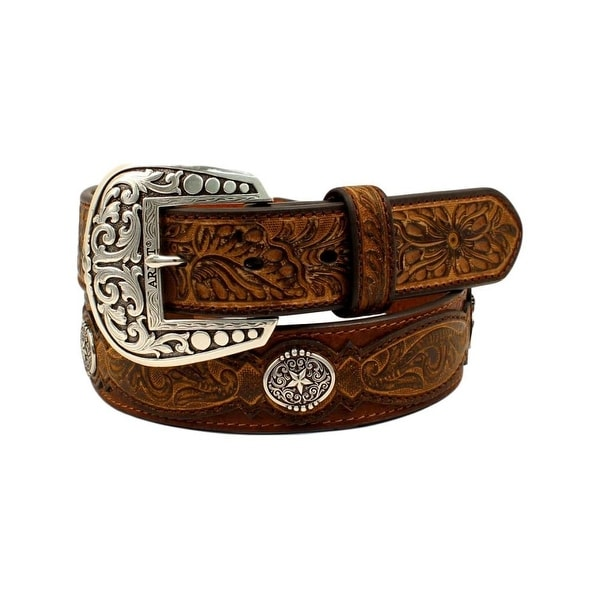 Ariat Western Belt Mens Leather Embossed Overlays Conchos