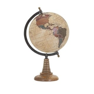 """16"""" Dinya Tabletop Decorative Traditional Globe with a Mango Wood Stand - brown"""
