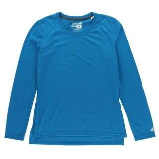 Adidas Womens Side Slit Ultimate Long Sleeve T Shirt Cerulean - M
