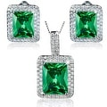 """Sterling Silver Radiant-Cut Cubic Zirconia Double Halo Earrings and Necklace 18"""" Set - Thumbnail 3"""