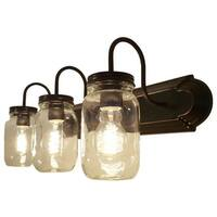 Mason Jar Vanity Fixture with Glass Shade, 3-Light