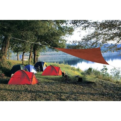 Coolaroo Ready-To-Hang Polyethylene Terra Cotta Triangle Shade Sail Canopy 120 in. W x 120 in. L