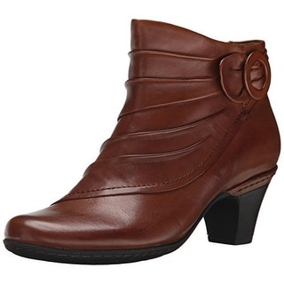 Cobb Hill Womens Sabrina Booties Leather Stacked Heel