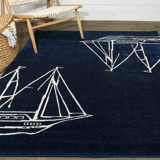 Link to Porch & Den Morningstar Sailboat Ship Coastal Nautical Area Rug Similar Items in Rugs
