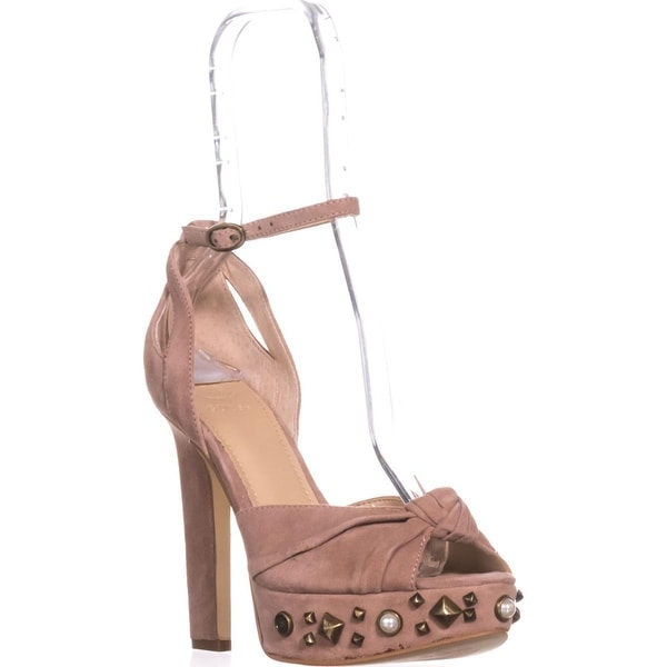 Guess Kenzie2 Studded Platform Sandals, Light Pink Suede - 6.5 us