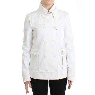 GF Ferre GF Ferre White Double Breasted Jacket Coat Blazer - it40