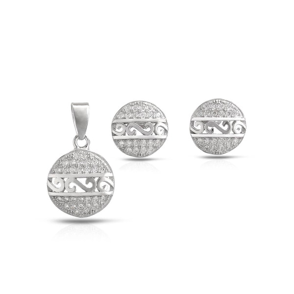 Mcs Jewelry Inc  STERLING SILVER 925 GREEK DESIGN PAVE SETTING EARRINGS AND PENDANT SET WITH CUBIC ZIRCONIA