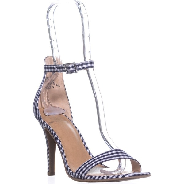 MG35 Blaire5 Ankle Strap Heels, Blue Gingham