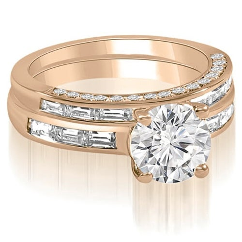 2.13 cttw. 14K Rose Gold Round And Baguette Cut Diamond Bridal Set