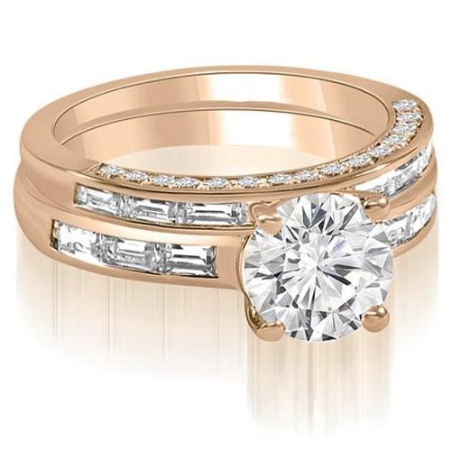 2.38 cttw. 14K Rose Gold Round And Baguette Cut Diamond Bridal Set