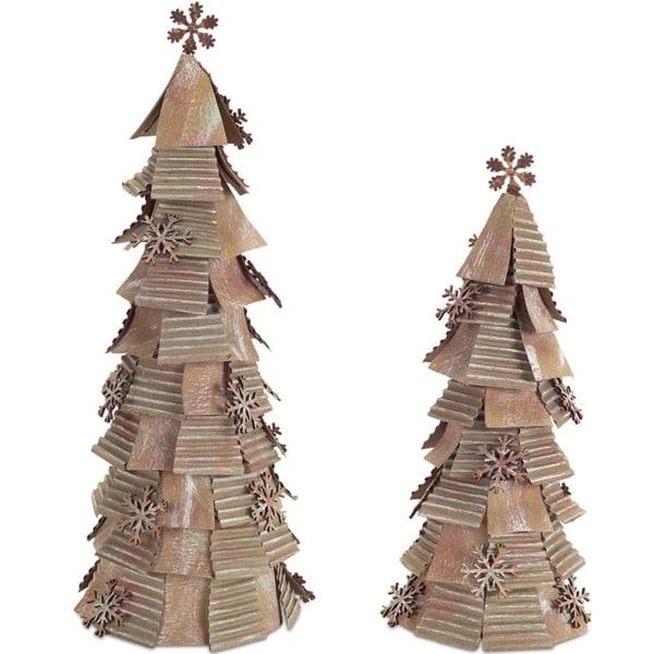 "Pack of 2 Christmas Decorative Creative Set of 2 Kraft Snowflake Tree 15""H 19""H"