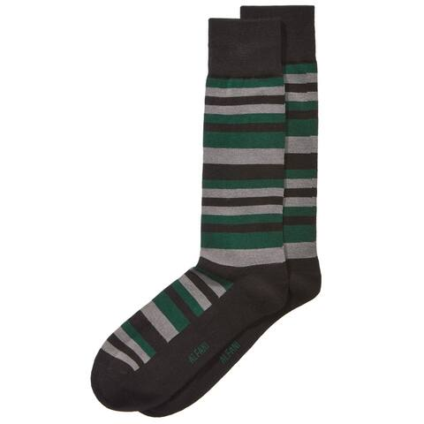 Alfani Mens Scale-Stripe Midweight Socks, Green, 10-13