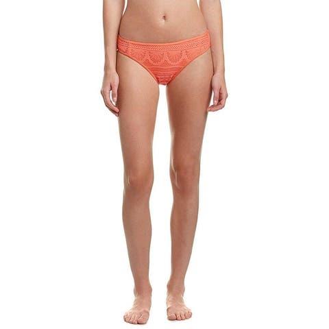 Kenneth Cole REACTION Women's Suns Out Crochet Hipster Bikini Bottom, Sunset (XL)