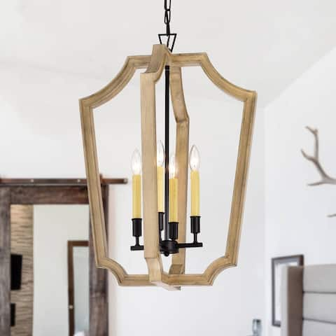 4-light Black and Natural Wood Foyer Chandeliers - Width 19.75in.