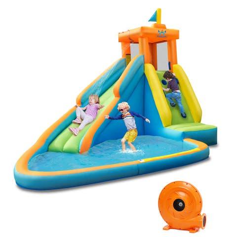 Costway Kids Bounce House Castle Splash Water Pool W/ 740W Blower - See Description