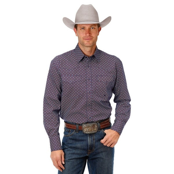 Western Shirt Mens Allover Print L/S Red 03-001-0625-0715 RE