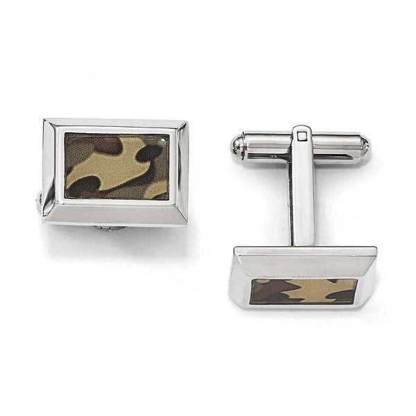 Chisel Stainless Steel Polished Printed Brown Camo Under Rubber Cuff Links