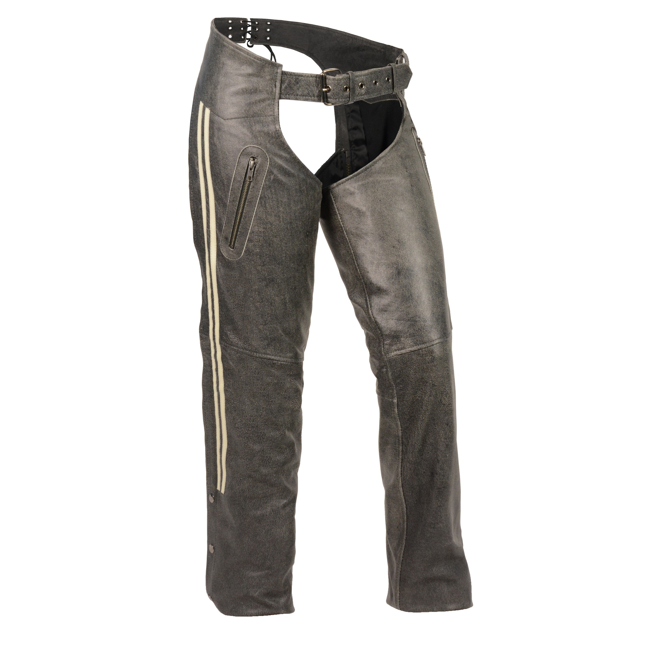 Ladies Black Lightweight Goatskin Leather Chaps w Lace and Grommet Details