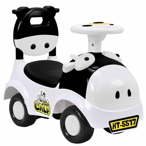 Gymax 3-in-1 Sliding Car Pushing Cart Walker Toddlers Ride On Toy Baby Calf w/ Sound - Black and White