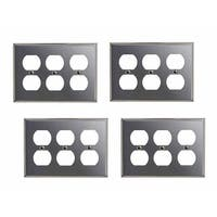 4 Switchplate Brushed Stainless Steel Triple Outlet