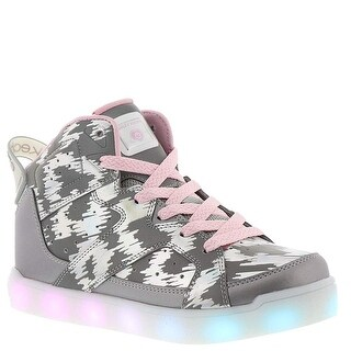 Skechers Energy Lights E-Pro Reflecti-Fab Girls' Toddler-Youth Sneaker 4 M Us Big Kid Silver-Pink