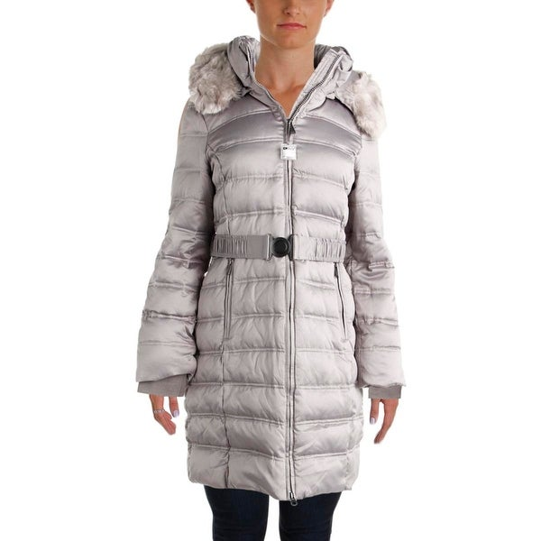 DKNY Womens Parka Down Faux Fur