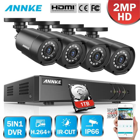 ANNKE 4CH 4PCS 1080P Lite Security System Bullet Camera 1TB Hard Drive