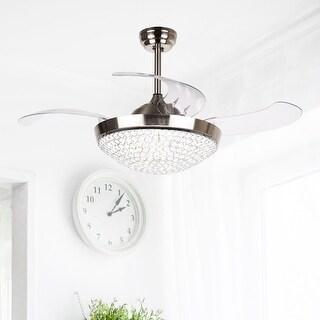 Dimmable Light 42-inch Foldable 4-Blades Crystal Fandelier Ceiling Fan