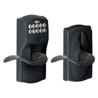 Schlage FE595 CAM ACC 716 Camelot Keypad Entry with Flex-Lock and Accent Levers, Aged Bronze