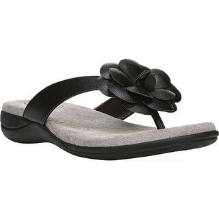 Life Stride Women's Elita Thong Sandal Black Polyurethane