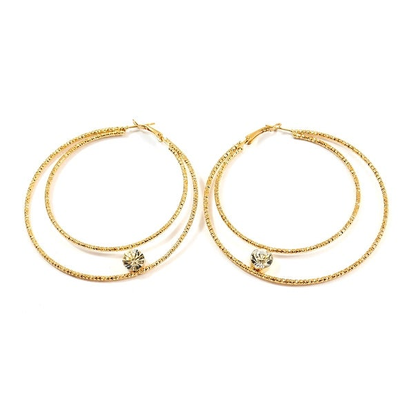 Edged Double Wire Hoop Fashion Earrings Single Stone Center, Gold
