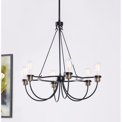 Aiden Rustic 6 Light Chandelier Black Finish with Plated Antique Brass