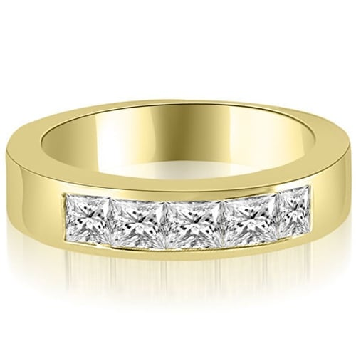 0.70 cttw. 14K Yellow Gold Princess Diamond 5-Stone Channel Wedding Band