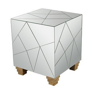 Dimond Home 114-124 Mirrored Mosaic Cube Foot Stool - Mirror/Gold Accents - N/A