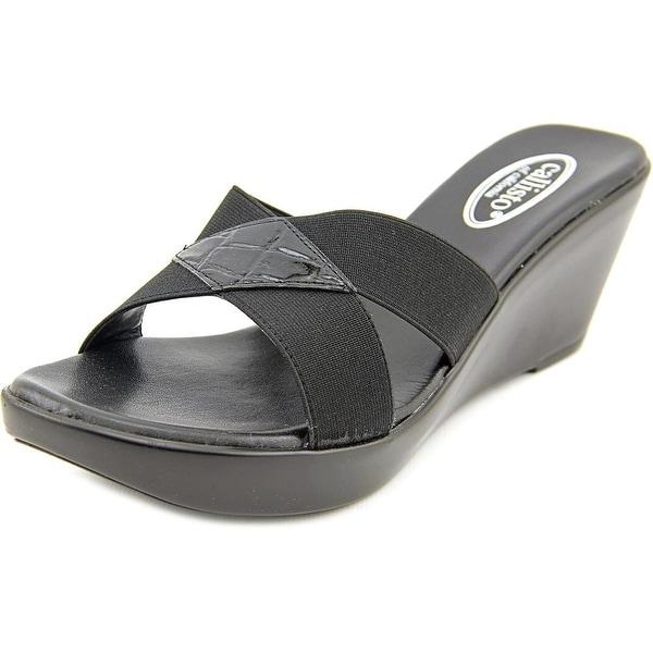 Callisto Aura   Open Toe Canvas  Wedge Sandal