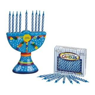 "4.25"" Hand Painted Colorful Ceramic Chanukah Hanukkah Menorah with Candles - Blue"