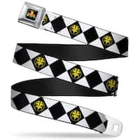 Power Rangers Logo Full Color Diamond White Ranger Tigerzord Webbing Seatbelt Belt