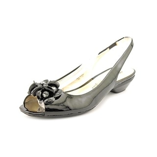 Anne Klein Ludwik Women Peep-Toe Synthetic Black Slingback Heel