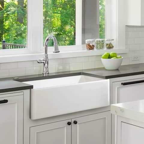 """Fireclay Sink, Single Bowl Farmhouse Apron Kitchen Sink, White, 33"""""""