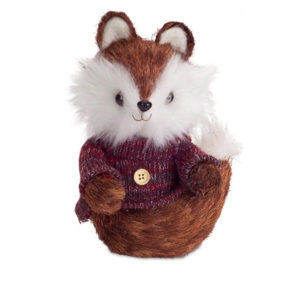 "9"" Brown and White Mr. Fox Wearing Knit Sweater Christmas Decoration"