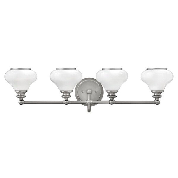 Hinkley Lighting 56554 4-Light Bathroom Vanity Light with Frosted Glass Shades from the Ainsley Collection
