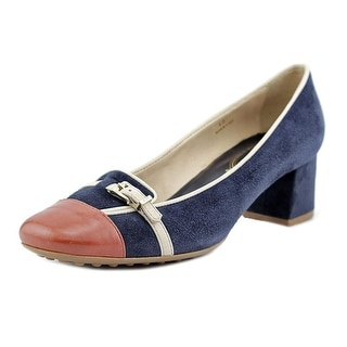 Tod's Gomma Tacco 50 OY Fibbietta Piping Women Square Toe Suede Blue Loafer